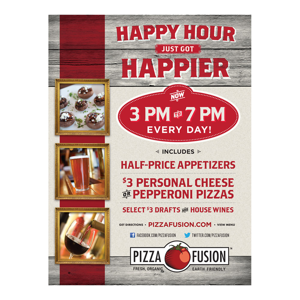 Pizza Fusion Happy Hour Poster