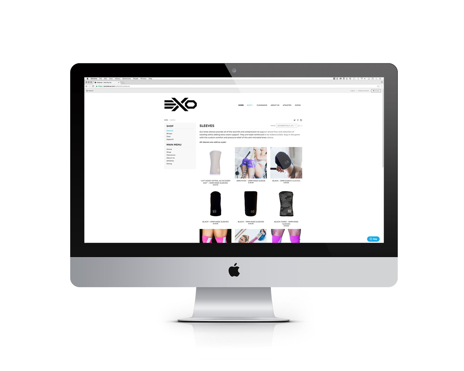 Exo Website Shop Page