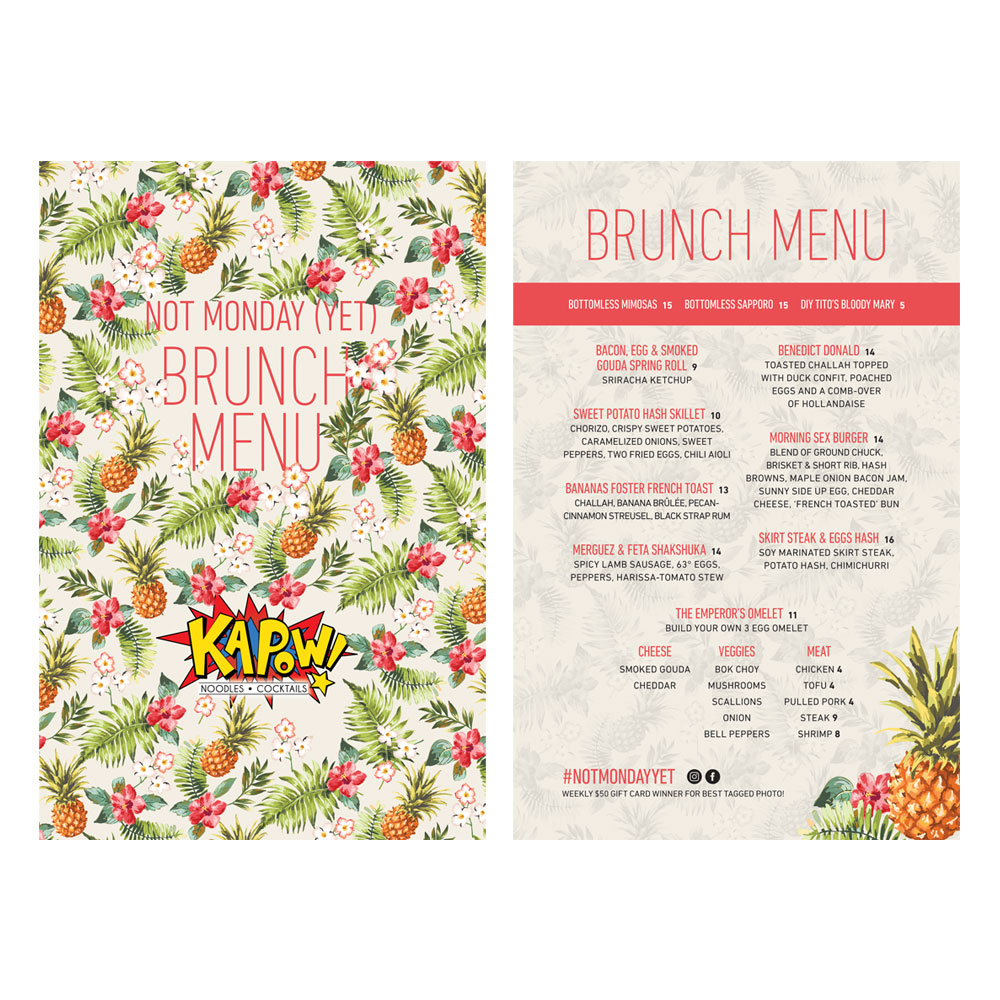 Kapow! Brunch Menu